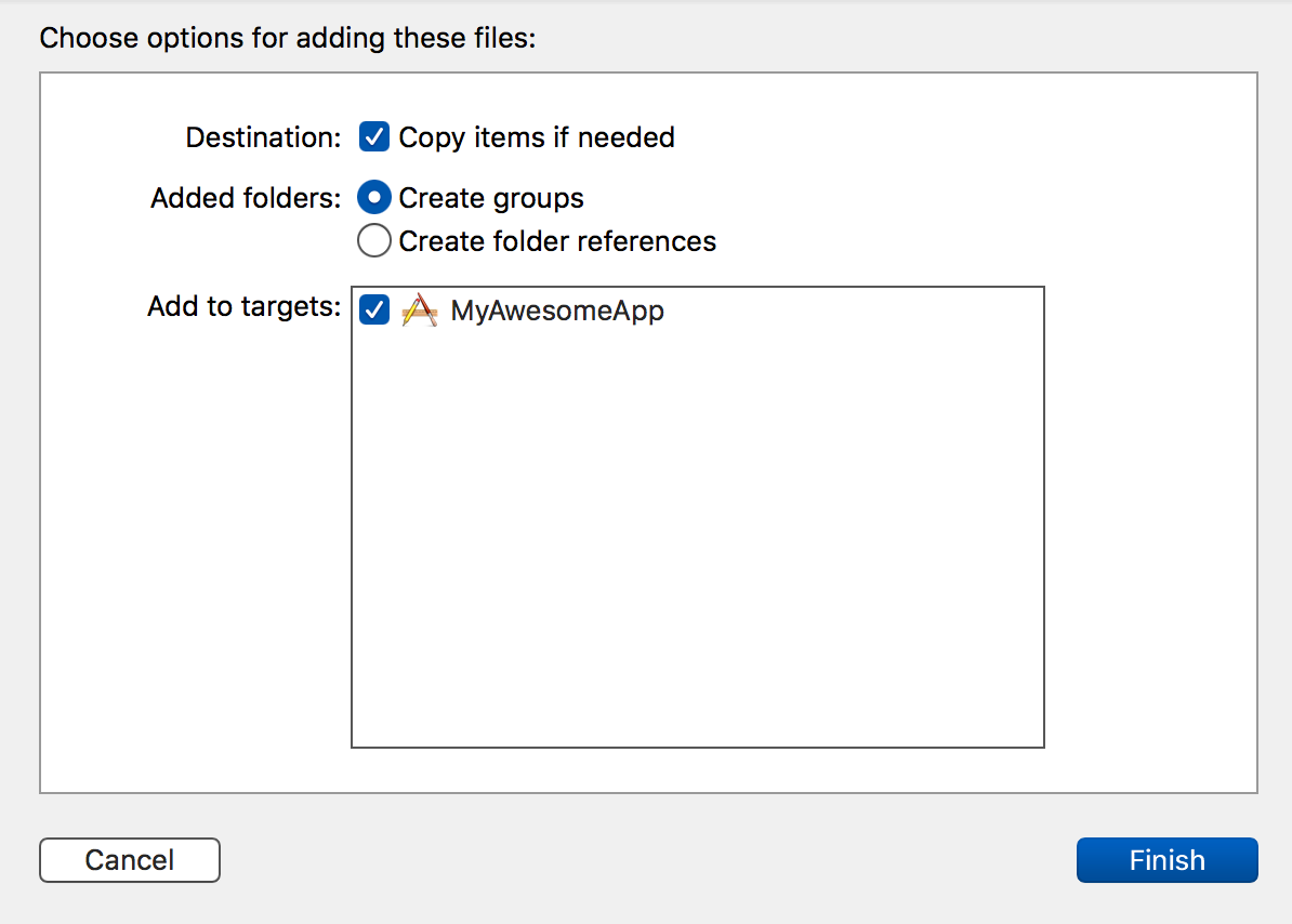 Xcode choose options